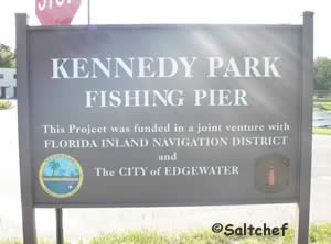 sign at george kennedy fishing pier