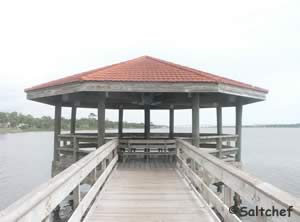 shade structure at end of pier in riviera park