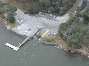 aerial shot of crooked river boat ramp st marys georgia
