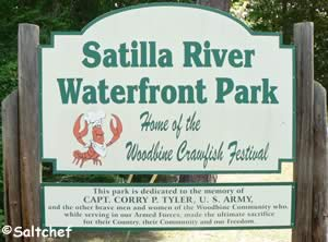 sign at satilla river waterfront park woodbine ga