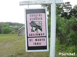 sign at dark entry creek kayak launch near st mary's georgia