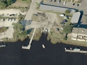 aerial of bells landing boat ramp savannah ga