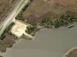 aerial shot of f.w. spencer boat ramp savannah georgia