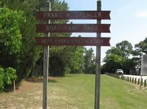 sign at F.w. spencer park savannah georgia