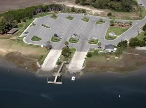 aerial of rodney hall boat ramp