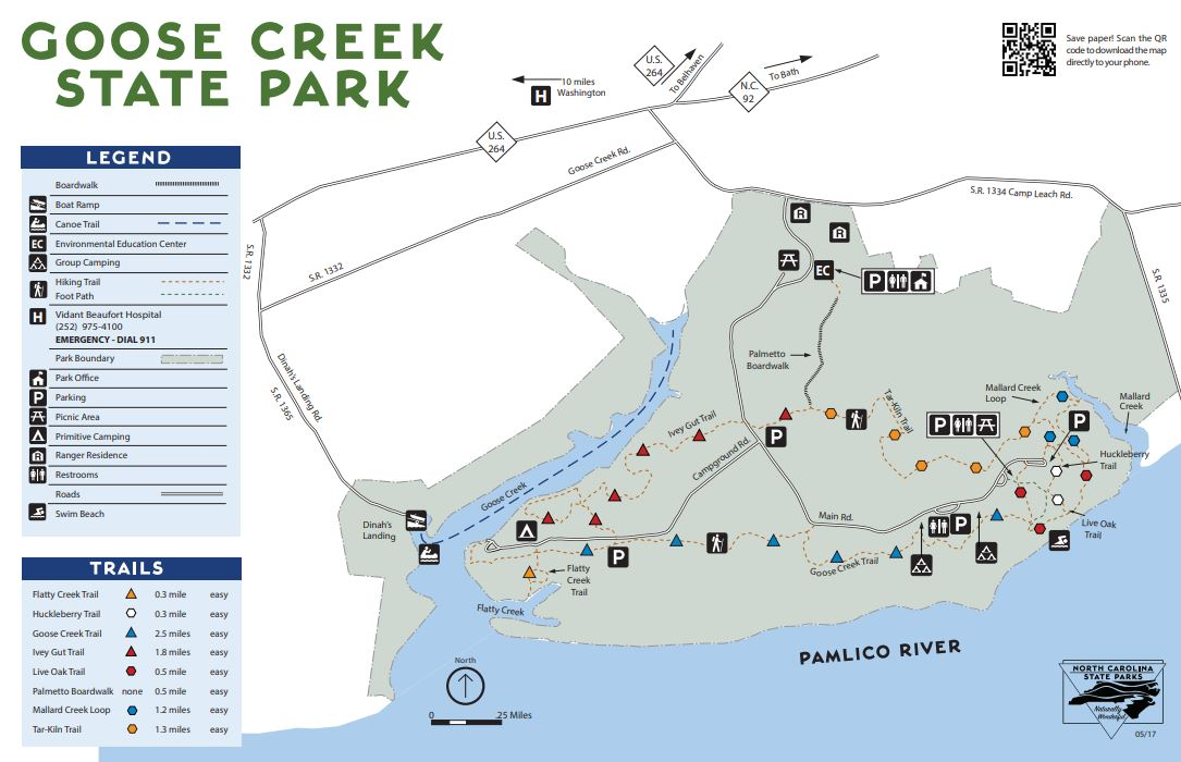 map of goose creek state park nc
