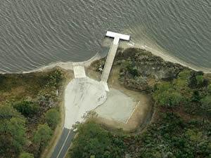 boat ramp in cedar island, nc on lola road
