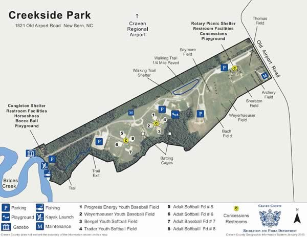 map of creekside park in craven county north carolina