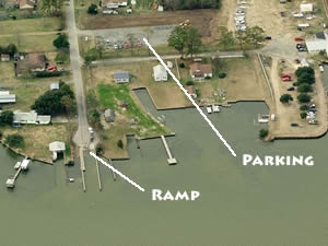 aerial of brumley road boat ramp, knotts island, nc
