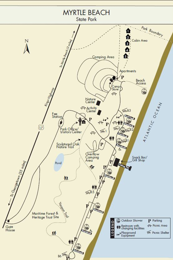 map of myrtle beach state park