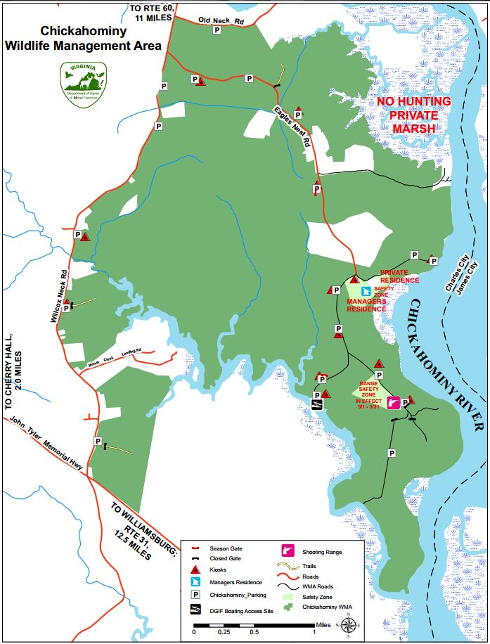 map of Chickahominy Wildlife Management Area