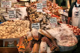 seafood for sale at Pike Place Fish Market