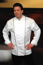Executive chefs coat with black piping