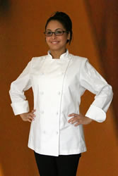 Knot button chef coat for women