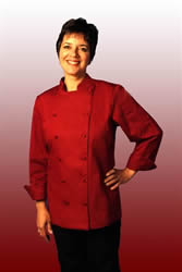 Womens red chef jacket