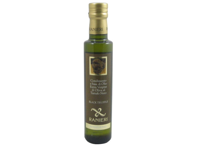 Imported extra virgin olive oil with black truffles