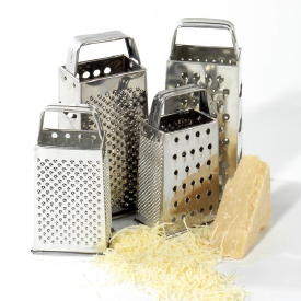 Graters are available in several sizes and materials