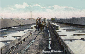 Salt bins and covers in Syracuse New York in 1900